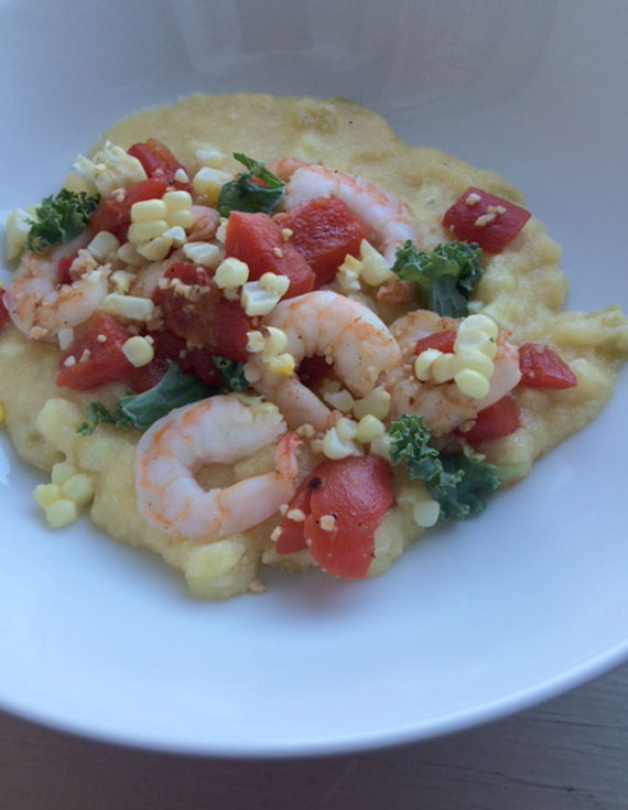 Fresh Corn Polenta with Shrimp and Roasted Red Peppers