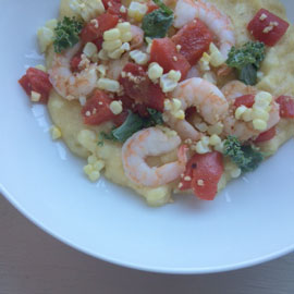 Corn Polenta with Shrimp and Peppers
