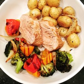 Grilled Pork Tenderloin with Roasted Veggies